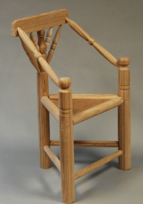 three footed stool, ash & cherry