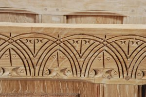 carved front rail, molding inside chest