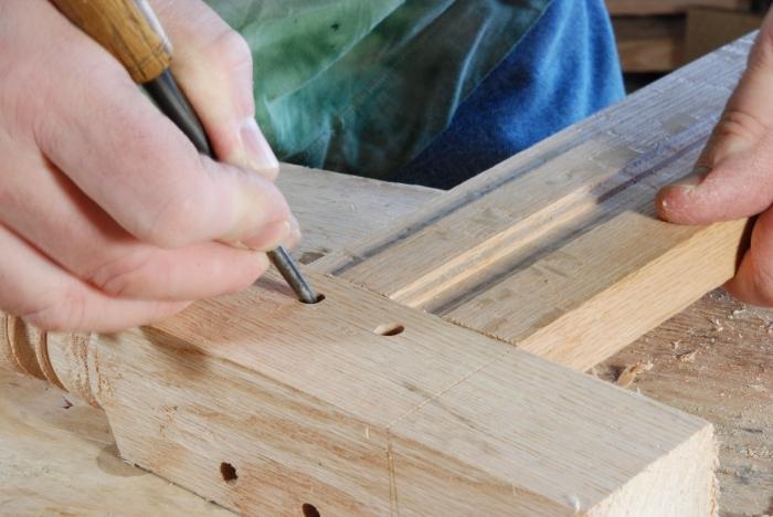 marking holes on the tenon
