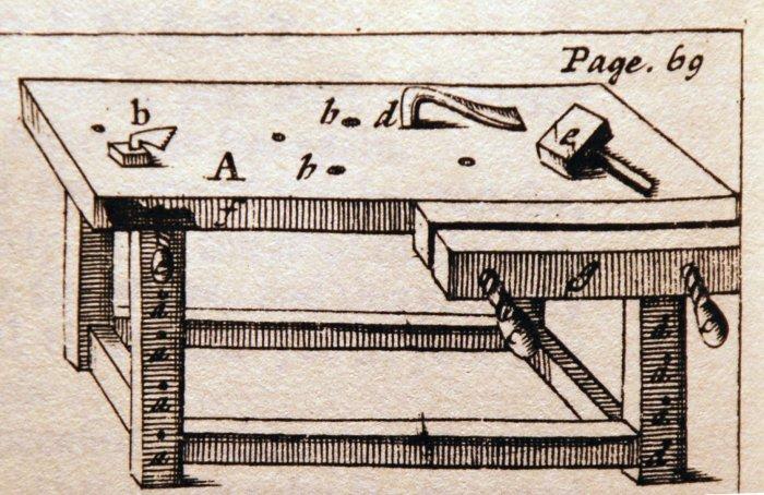 joiner's bench, London 1680s
