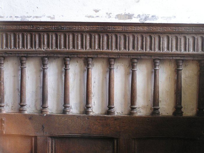 pew paneling w spindles