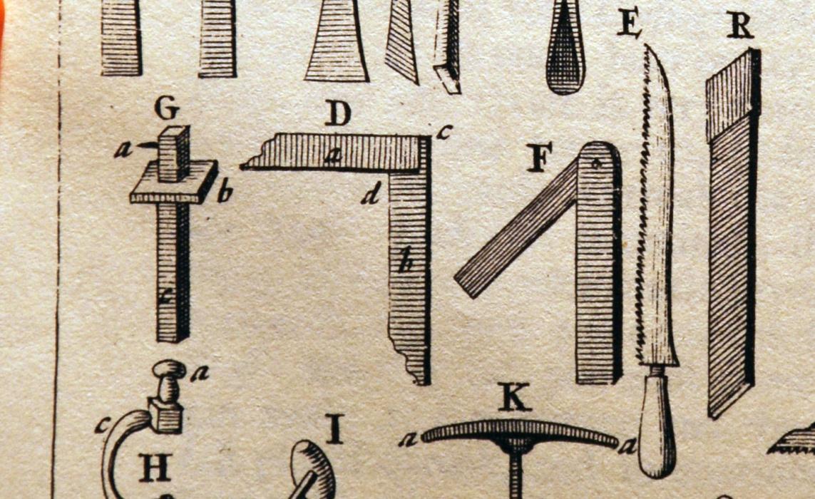 Joseph Moxon layout tools, including the mitre square