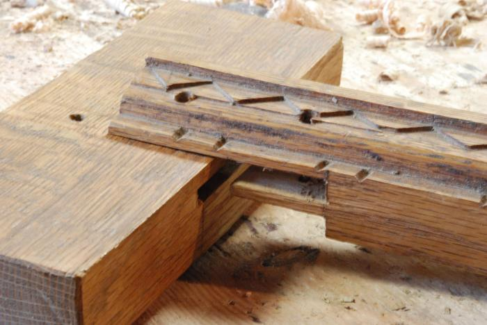 "unassembled view of ""lipped"" tenon"