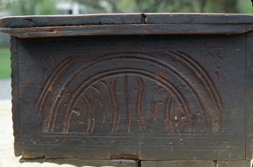 carved box, side. William Savell, 1590s-1669