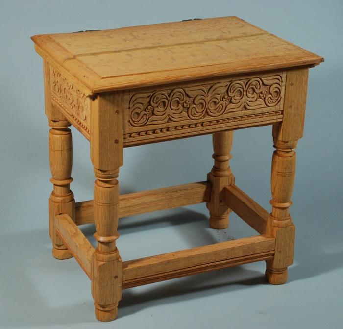box stool, oak