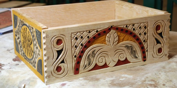 practice box, carved & painted front