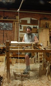 turning pillars with pole lathe