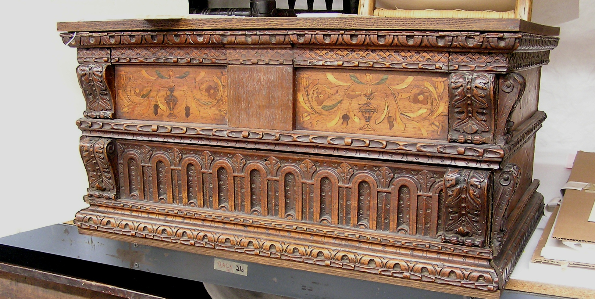box w drawer, walnut & inlay