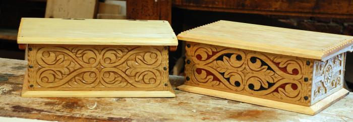 small oak boxes