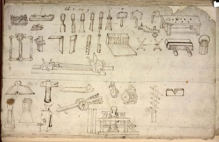 Randle Holme, joiners' tools etc, 1688
