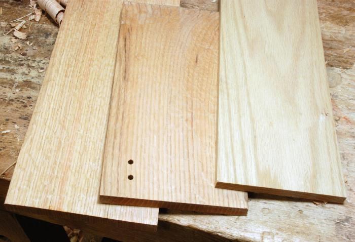 riven, quartersawn, and flatsawn red oak