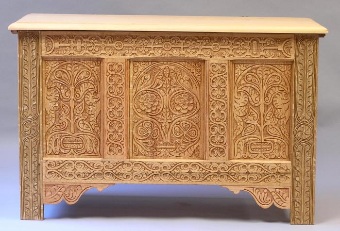 carved chest, oak & pine
