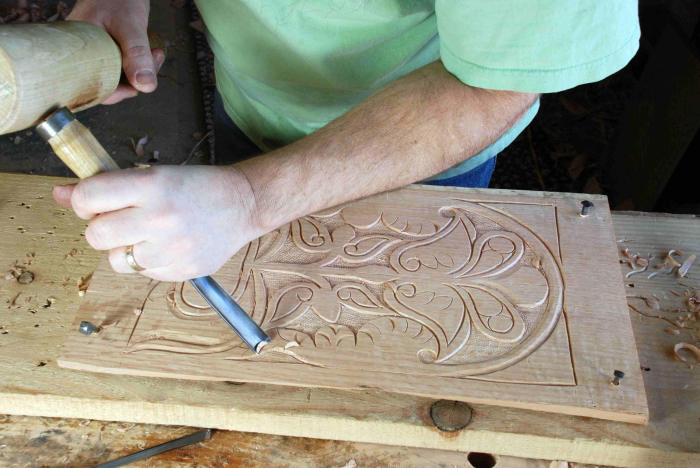 nails secure chest panel for carving