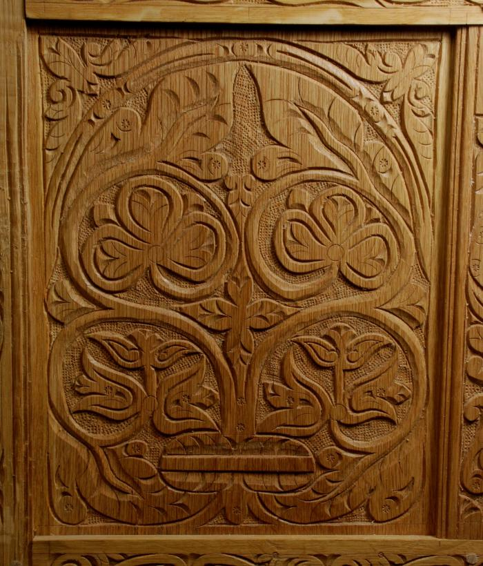 flatsawn white oak carved panel