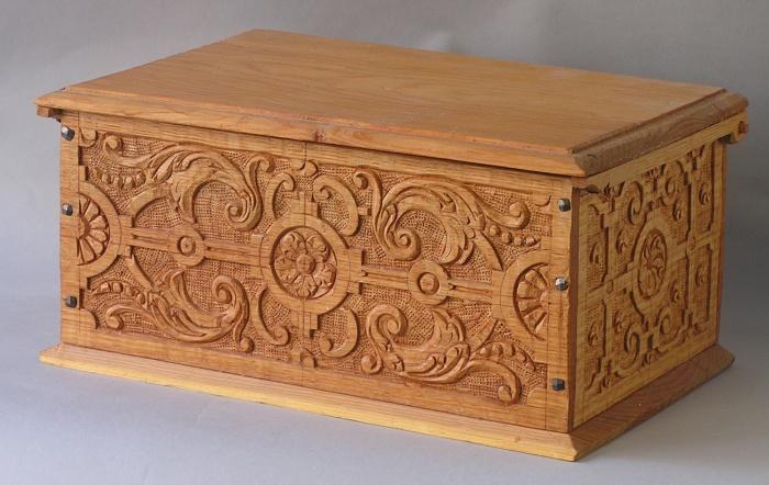 carved box, oak & pine