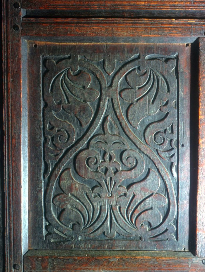 carved panel, Dedham, MA c. 1640-1680