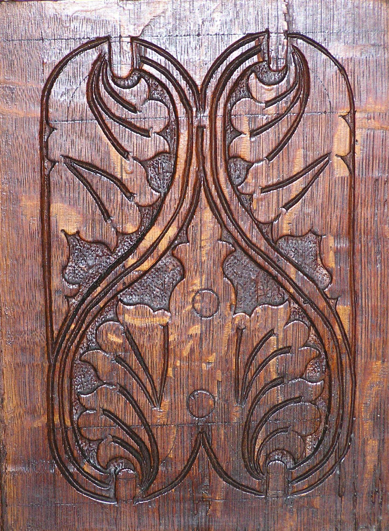 carved panel, with layout scribed