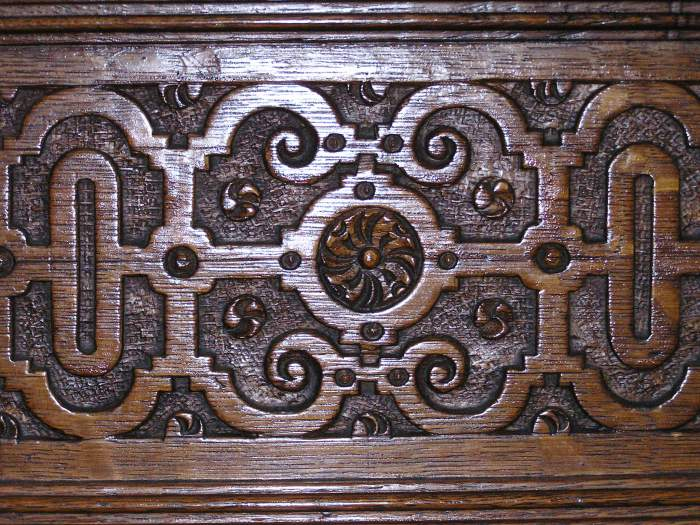 carved panel, Totnes pews