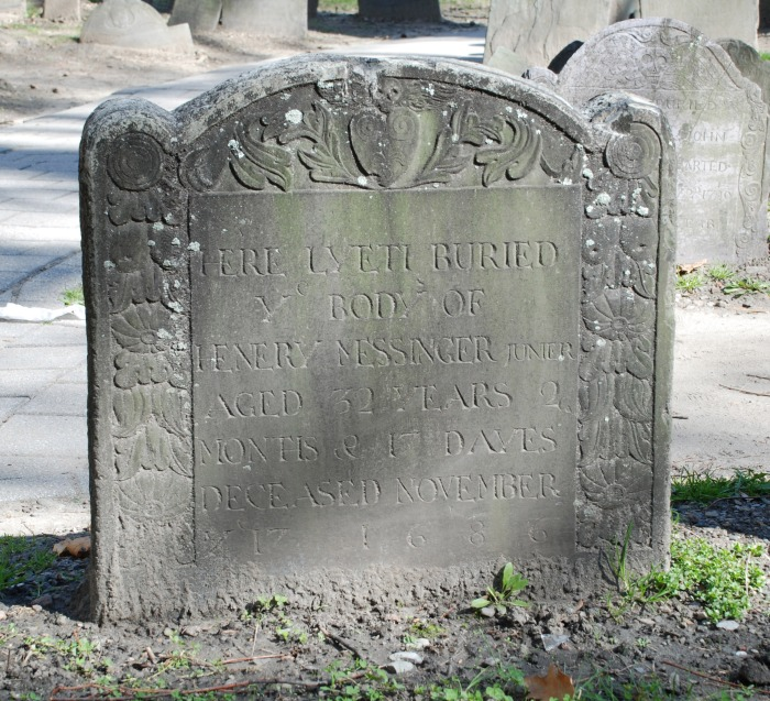 Henry Messinger, Jr gravestone 1686