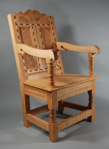 Lincoln chair, red oak, walnut & maple