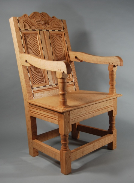 Lincoln chair, red oak, walnut & maple