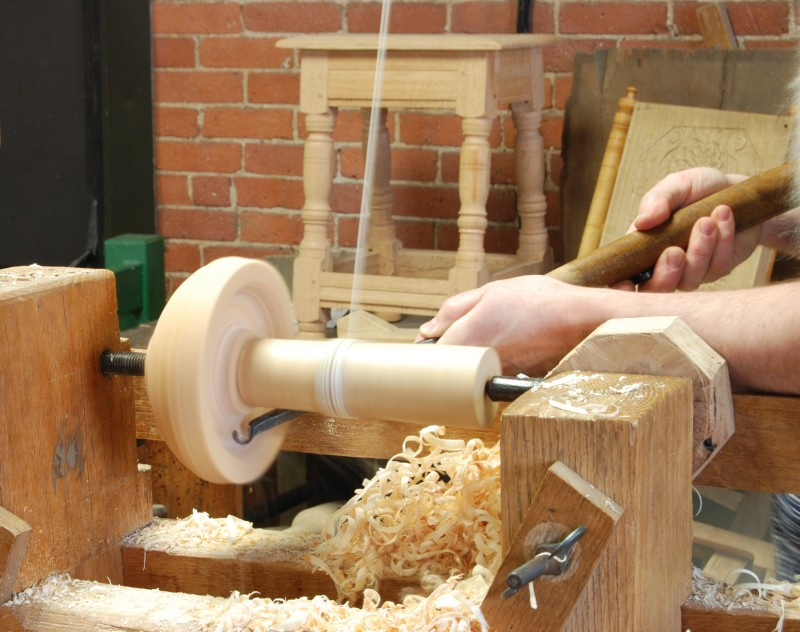 turning a bowl on a wood lathe
