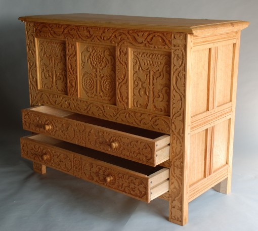 vine carved chest drawers open