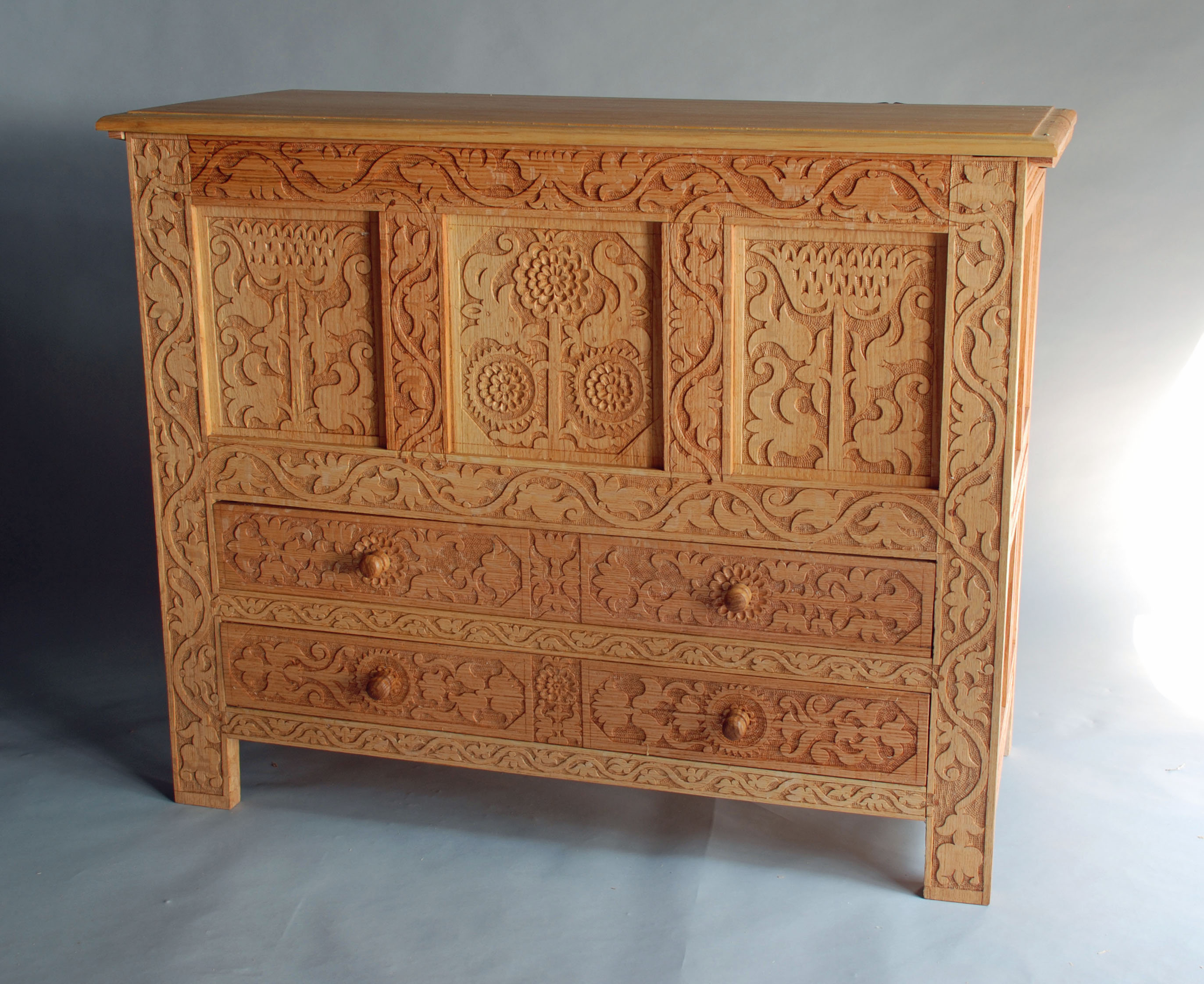 Vine Carved Chest W Drawers