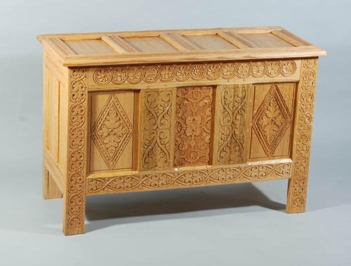 carved chest, paneled lid, 2012