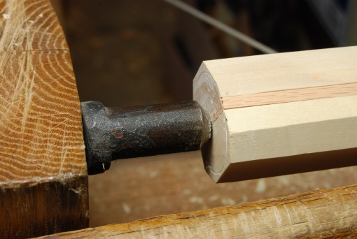 lathe points on center strip of turning