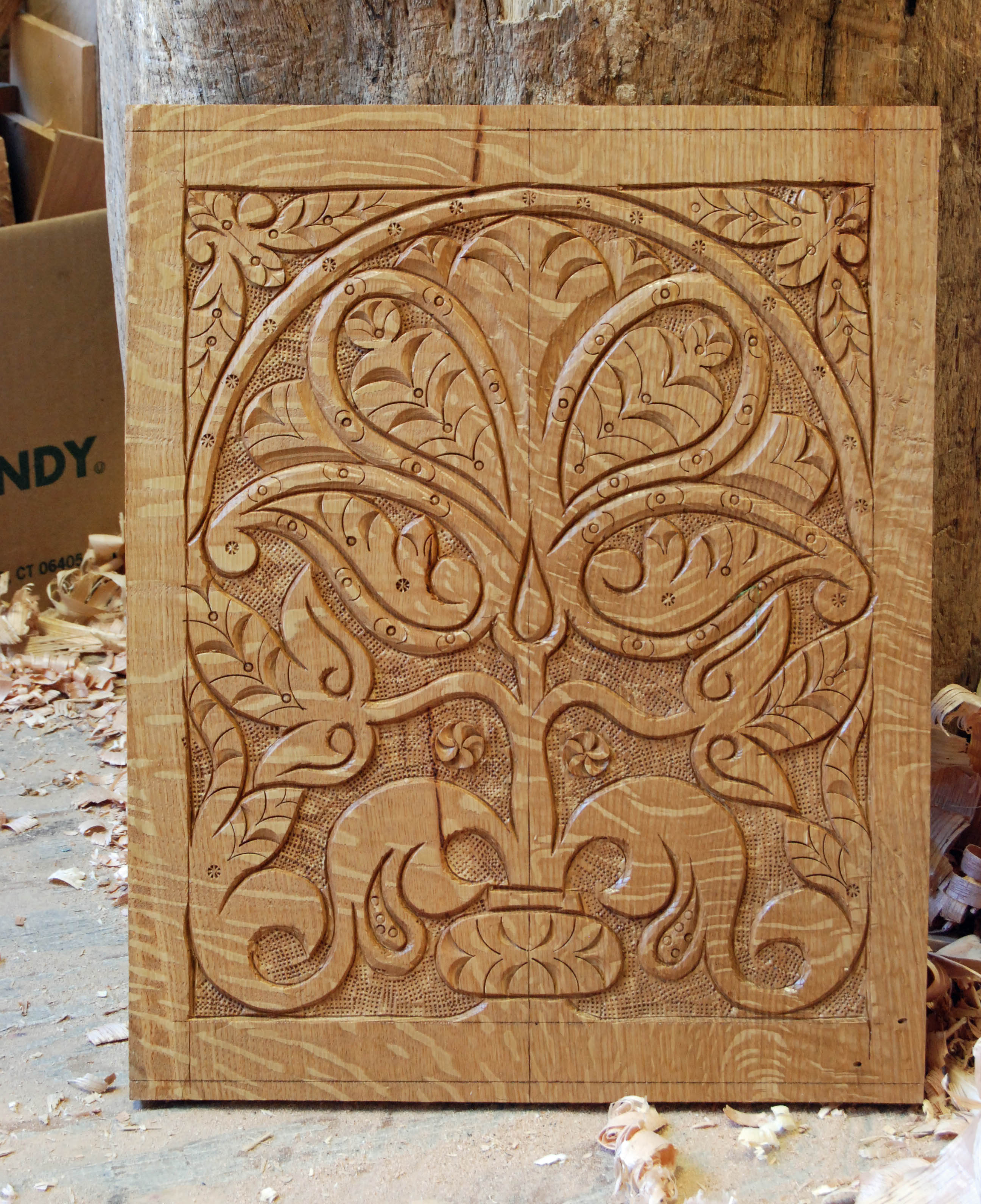 Carved chair panel