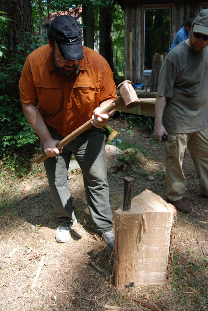 splitting oak w wedges