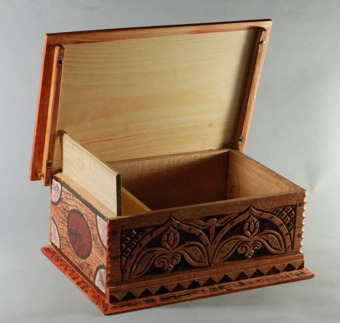 carved & painted box open