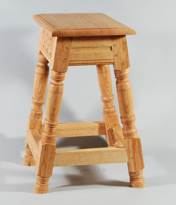 joined oak stool carved fall 2013