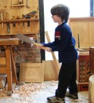 sawing away