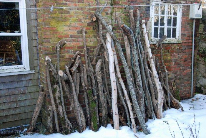 spoon wood piled high