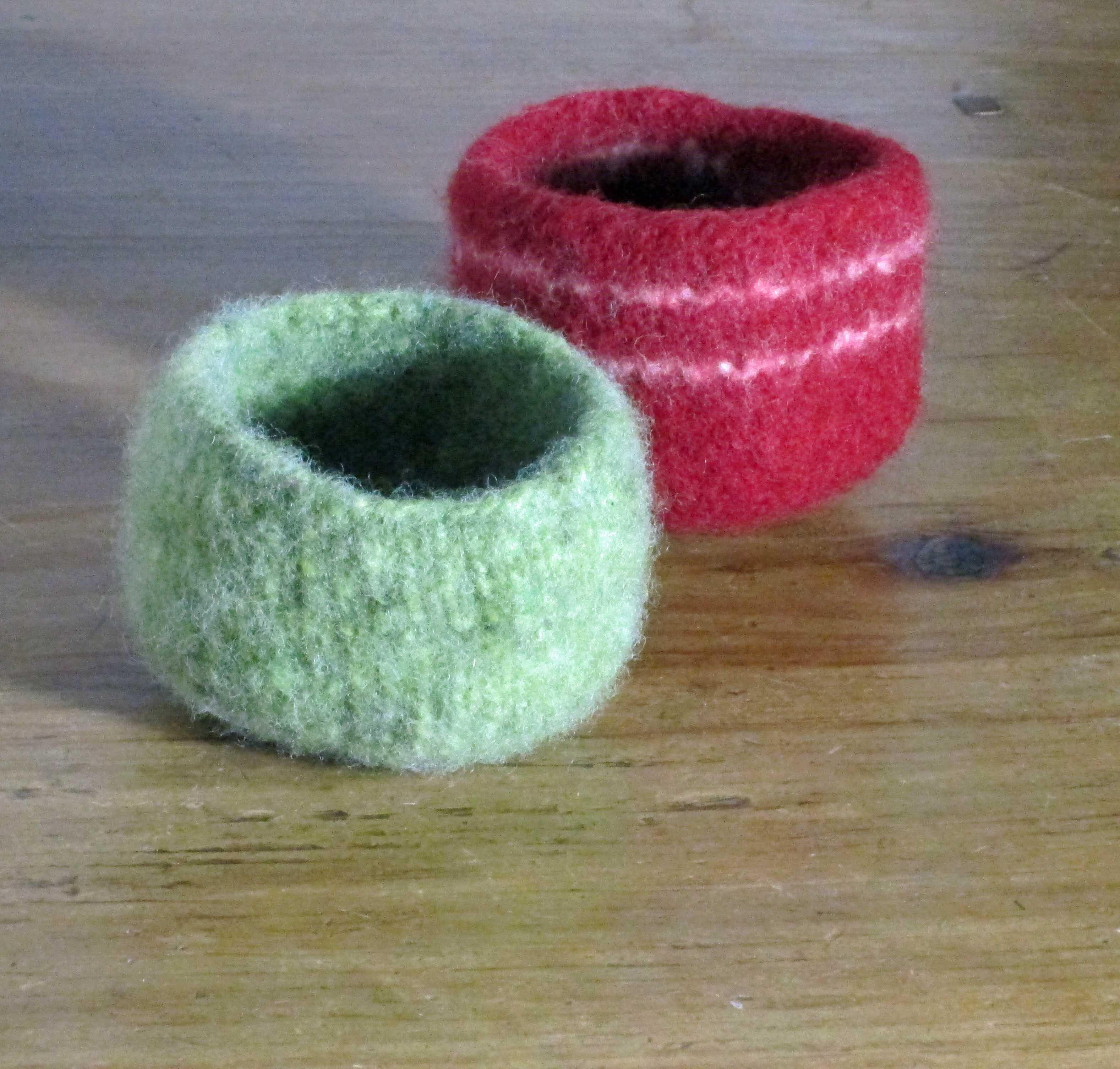 two small felt bowls