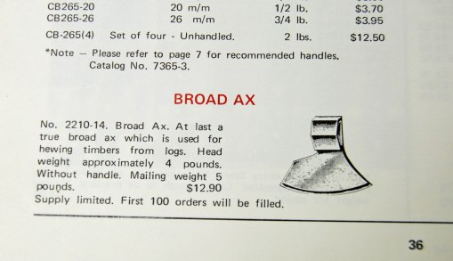 1971 Woodcraft catalog axe