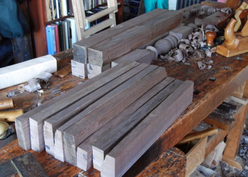 walnut joined stool parts